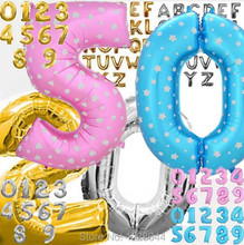 "Birthday Party decoration Party supplies 42"" Alphabet Letter Number Aluminum foil balloons Golden Silver Pink Blue color Choice"