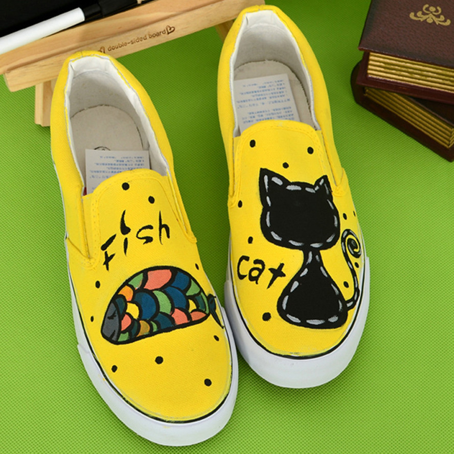 Men Hand Painted Canvas Shoes Cartoon Casual Shoes MULTI Fashion Patterns Low Slip-on Lovers Shoes Plus Size US 11<br><br>Aliexpress
