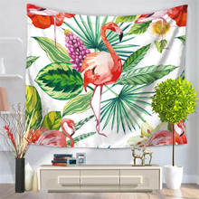 High Quality Tapestry Wall Hanging Flamingo Green Leaf Printed Beach Throw Towel Yoga Mat Table Cloth Bedding Outlet Home Decor(China)