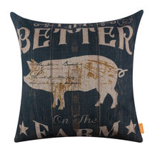 LINKWELL 45x45cm Vintage Black Farm Sweet Farm Pig Life is Better on the Farm Farmer Love Linen Pillowcase Burlap Cushion Cover(China)