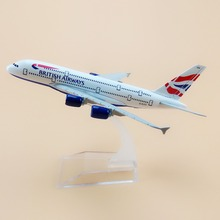 16cm Alloy Metal Air British Airways Airlines Airbus 380 A380 Plane Model Aircraft Airplane Model w Stand Craft Gift