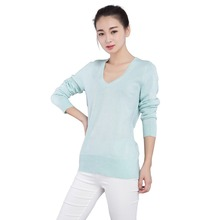 Spring Autumn Fashion Women Pullover Sweater Jersey with Silver and Golden Lines V-Neck Long Sleeve Slim Jumper(China)