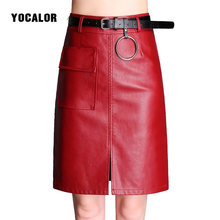 PU Leather Skirts Womens Midi High Waist Black RED Skirt A Line Sexy Skirt  Punk Split Faux Leather Plus Size Autumn Winter 286ecd6458c7