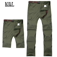 LILL | 7XL Removable Quick Dry Pants Waterproof Men 2017 Summer Travel Trousers Joggers Black Khaki Men's Casual Pants,UA329(China)