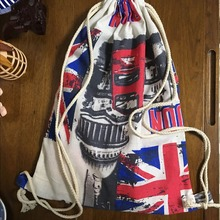 YILE Cotton Linen Drawstring Travel Backpack Student Book Bag London Union Jack 1121-4