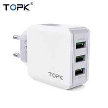 TOPK 3-Port 5V 3.1A Smart Travel USB Charger Adapter Wall Portable EU Plug Mobile Phone Charger for iPhone Samsung Xiaomi(China)