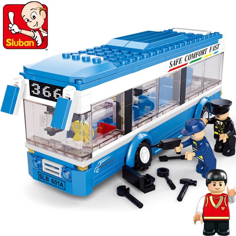 New Sluban City Bus Plastic Building Blocks 235pcs/set DIY Enlighten Model car Kits Building Bricks Compatible toys<br><br>Aliexpress