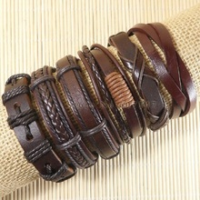 6pcs Handmade wrap brown real charm men leather bracelet for women 2017 fashion bracelet adjustable femme pulseira masculina(China)