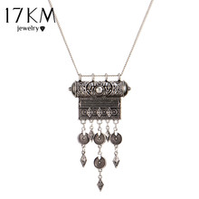 17KM Ethnic Jewelry Long Tassel Necklace For Women Vintage Pattern Sliver Gold Color Geometric Pendant Necklaces Maxi Collar
