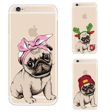 Cool Pug Design Soft TPU Phone Case For Apple iPhone X 5 5S SE 6 6S 7 8 Plus Clear Silicone Back Cover For iPhone 8Plus X Coque(China)