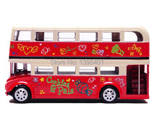 Flashing London Bus Double-deck Sightseeing Bus Toy ,Musical Pull Back,Scale Diecast Bus Model Car Toys