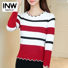Casual Winter Autumn Sweaters Women Pullovers 2018 Fashion Wave Neck Long Sleeve Knitted Pullover Female Striped Jersey Mujer(China)