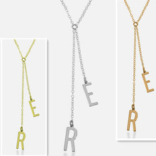 Wholesale Personalized Two Initial Necklace Silver Drop Letter Long Pendent Celebrity Party Jewelry Christmas Gift