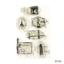 Famous buildings Design Silicone Transparent Stamp Clear Stamps Set for DIY Scrapbooking Photo Album Decoration Supplies(China)