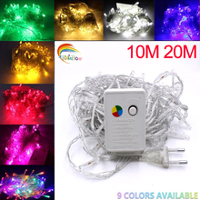 LED String Light 10M 20M Waterproof 110V/220V holiday String lighting 9 Colors Christmas Festival Party Outdoor Decoration(China)