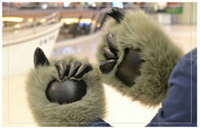 1 pair=2pcs plush bear claw gloves,animal bear paw shape cute funny Christmas gift lovely plush toys warm cool for friends kids