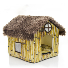 Cute Small Pet Dog Cat Bed Tent House Kennels For Small Dog Warm Fleece Dog Puppy  Bed Indoor House Nest Cushion