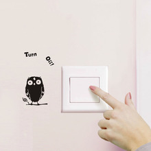 1Pcs 11*20cm Turn Off Owl Wall Sticker Decoration for Home Room Decor diy Wall Decals posters Decorative stickers muraux 45212