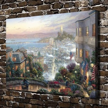 H1195 Thomas Kinkade San Francisco Lombard Street , HD Canvas Print Home decoration Living Room Bedroom Wall pictures painting(China)