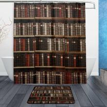 Vintage Book Bookshelf Library Waterproof Polyester Fabric Shower Curtain With Hooks Doormat Bath Floor Mat Bathroom