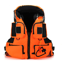 Water Sport Safty Life Jacket with Durable Polyester Oxford cloth for Adult Life Vest with Whistle free shipping(Orange)