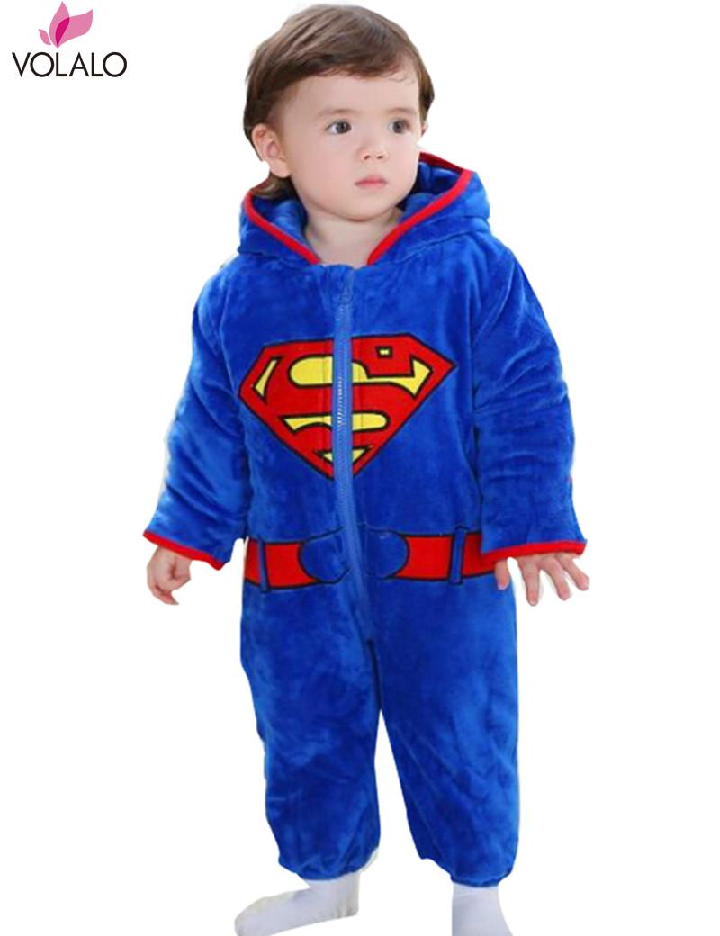 2016 Fall/Winter Superman Baby Boy Infant Romper Long Sleeve with Cartoon Halloween Christmas Costume Children Kids gift<br><br>Aliexpress