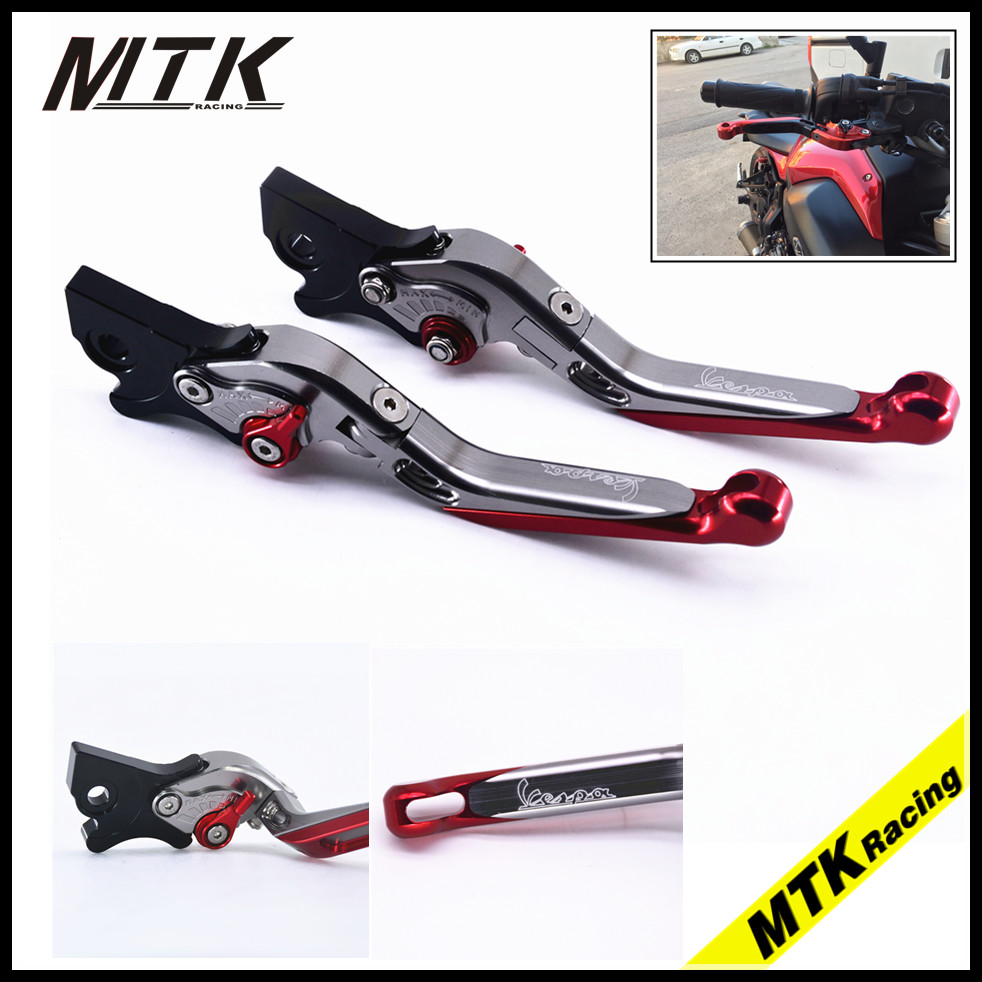 MTKRACING CNC Aluminum Adjustable Motorcycles Front &amp; Rear Disc Brake Levers For Vespa Gilera runner 200/125 FX<br>