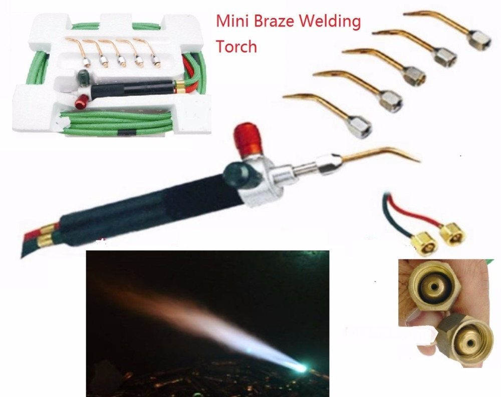 Mini Braze Welding Torch use Oxygen Liquified Gas Acetylene Butane inc. 5 tips for refrigeration jewelry &amp; dental application<br>