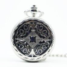 Fashion Silver Engraving Hand Wind Mechanical Pocket Watch With Pendant Necklace Men Womens Gift(China)