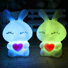 Hot Sale LED Night Light Tiny Small LOVE Rabbit Lamp Color Changing Holiday Light Children Kid Favor Gift Toy Bedroom Cafe Decor