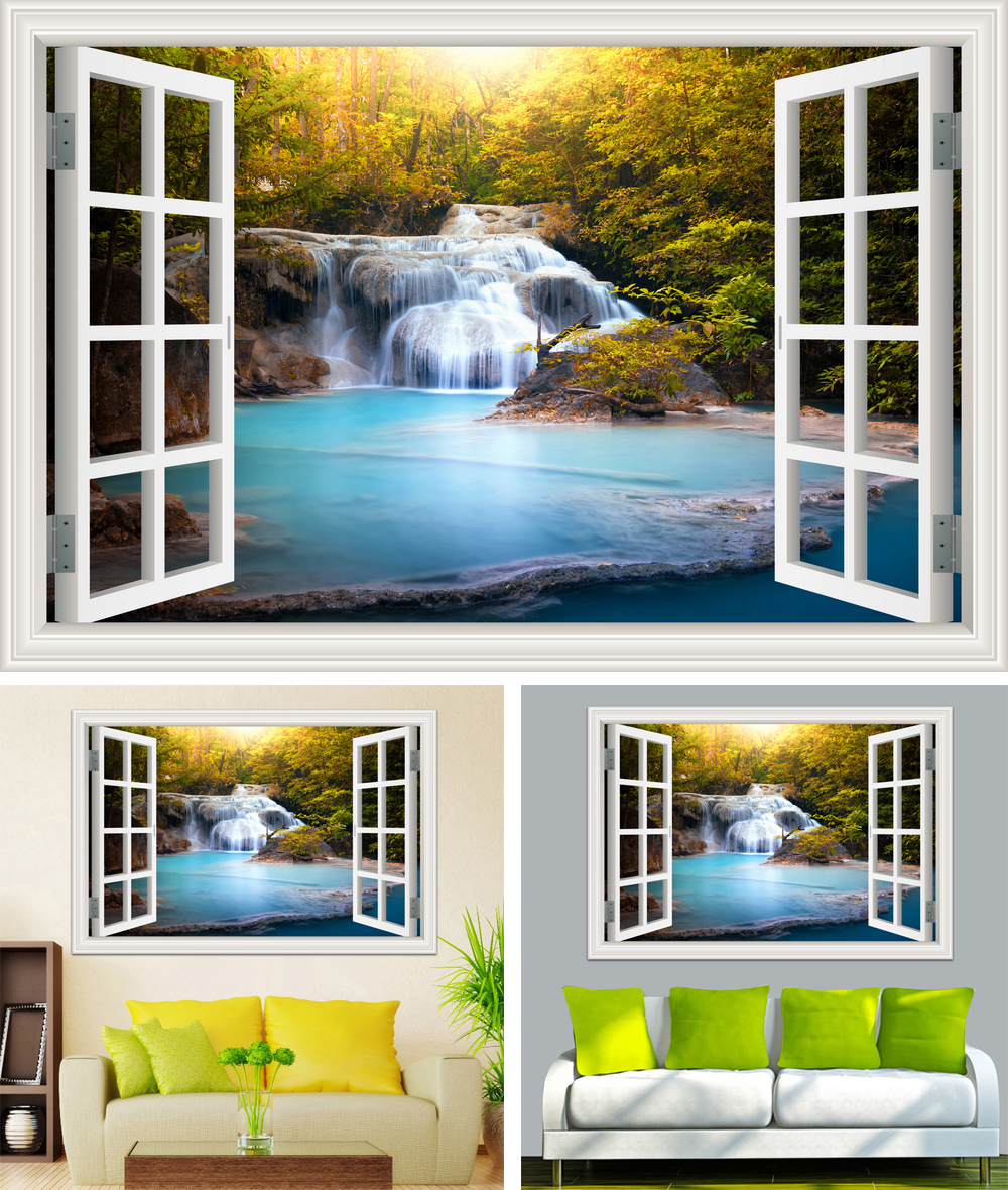 HTB14PYeb7fb uJkSndVq6yBkpXa6 - Waterfall 3D Window View Wallpaper Nature Landscape Wall Decals for Living Room