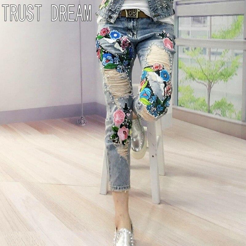 TRUST DREAM European Designed Women Slim Ripped Hole Appligues Jeans Vintage Flower Beading Amazing Fashion Casual Female JeansÎäåæäà è àêñåññóàðû<br><br>