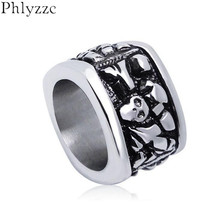 Cool Mens Heavy Metal Skull Rings Stainless Steel Goth Cameo Skull Jewelry Punk Boys Music Accessory Masculine Anel R317(China)
