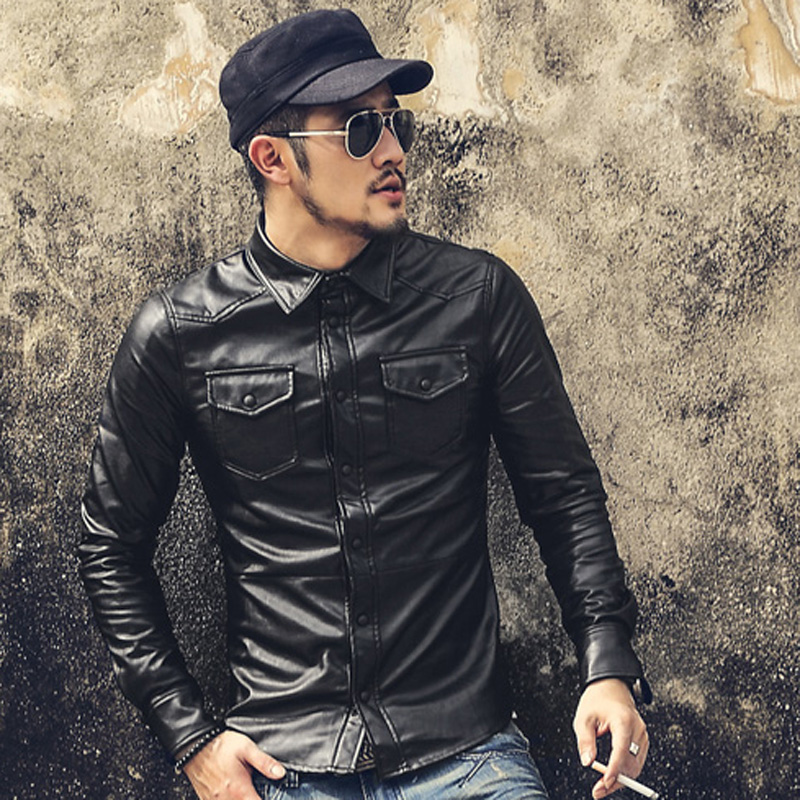 New Men Clothing Casual Slim Fit men long sleeve Leather shirt Motorcycle jackets Mens Dress Shirts Long Sleeve chemise homme(China (Mainland))
