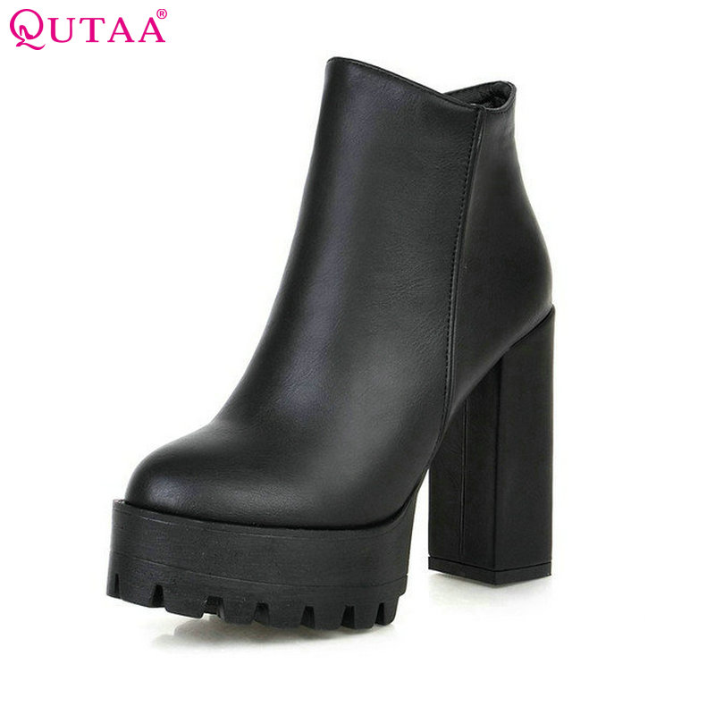 QUTAA 2017 European Style Sexy Round Toe Ankle Boots Comfortable Boots High Heels Women Boots Size 34-39<br>
