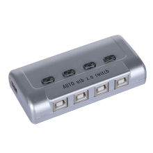 4 Port Auto USB 2.0 Selector Switch Printer Flash Driver Mouse Sharing Switcher Hotkey Software Control