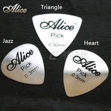 Alice Heart Triangle Jazz Shape Metal Guitar Pick Plectrum, 0.30mm, 1/piece