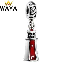 WAYA Silver Color Charm Enamel lighthouse Pendant Charms European Bead Fit Chain 925 Bracelet Bangle DIY Accessories Jewelry(China)