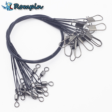 "Rompin 10pcs super high quality fishing Leaders line 12"" 30Lb 9"" 20Lb Heavy duty steel leaders with Superior snaps and swivels(China)"