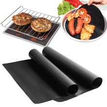 2pcs! High temperature linoleum nonstick plate plate home mats reusable PTFE non-stick surface hotplate mat for BBQ tool