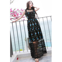 woman's fashion 2017 floral black lace embroidered dress scalloped round neck sleeveless floor length maxi summer dresses sale