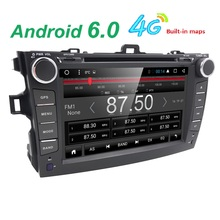2 din Android 6.0 car dvd player for Toyota Corolla 2007-2011 Quad Core 8 inch 1024*600 screen car stereo radio DVR SWC DAB DVBT