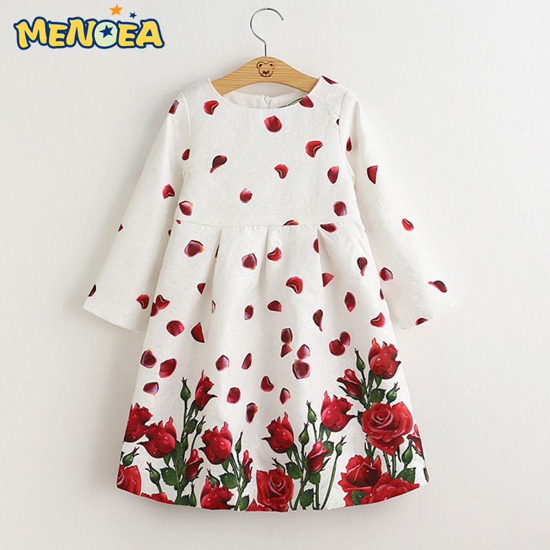 Menoea Girls Dress 2017 New Spring Fashion Girls Party Dresses Long Sleeve Rose Flower Kids Princess Dress Children Clothes<br><br>Aliexpress