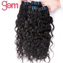 Indian Water Wave Hair Extensions 1Pcs 100% Human Hair Weave Bundles GEM BEAUTY Supply Non-remy Hair Products Natural Black 1b