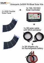 Solarparts 2PCS 50W DIY solar system light weight flexible solar panel MONO solar modules 12V  battery USB solar panel charger