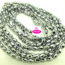 wholesale free ship Grade AAA 280 PC lot 4 String 4*6mm white ray Crystal Glass rice Beads r418(China)