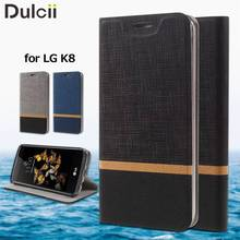 capa coque funda for LG K 8 Leather Bag Cover Cross Texture PU Leather Card Slot Case for LG K8 Built-in Steel Sheet - Black