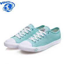 New Women Canvas Shoes Casual Lace-Up Cute Spring Candy Colors Ladies Flats white Shoes Woman ac48(China)
