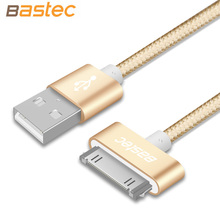Bastec Original 30-Pin Metal plug Nylon Braided Sync Data and Charging USB Cable for iphone 4 4s iPad 2 3 with Retail Box