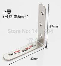 Size 87*87*20mm Thickness 2mm stainless steel angle bracket L shape satin finish frame board support(China)